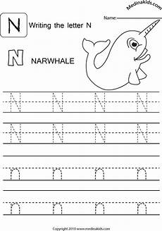free letter n tracing worksheets 24168 medinakids learn write and lower letters practice letter n