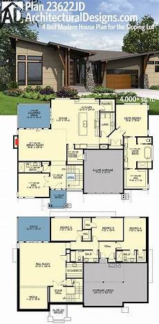 contemporary house plans with walkout basement plan 23622jd 4 bed modern house plan for the sloping lot