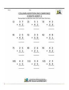 grade addition worksheets column addition 2 digits