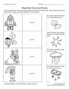 weather cut and paste worksheet for kindergarten 1st