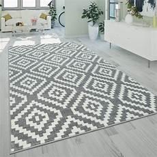 ethno teppich rauten muster grau wei 223 teppich de