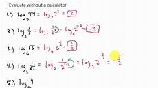 evaluating logarithms without a calculator