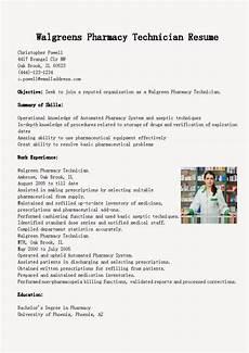 resume sles walgreens pharmacy technician resume sle