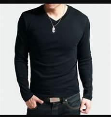 jual baju pria keren v neck kaos polos lengan panjang