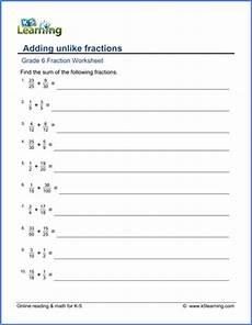 fraction worksheets grade 6 3935 grade 6 math worksheet fractions adding unlike fractions large denominators k5 learning