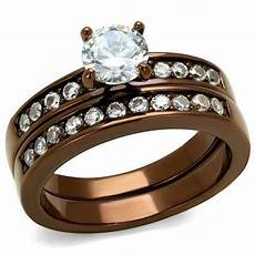 coffee brown chocolate stainless steel cz wedding