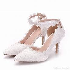 Bridal Shoes Uk 2019 2019 new style white lace wedding shoes with tapered