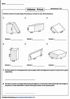 decimals worksheets for highschool students 7163 volume of prisms mixed review decimals level 1 composite shapes worksheets high school