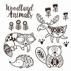woodland animals coloring pages 17187 decorative ornamental woodland animals vector set stock vector illustration of collection