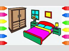How To Draw Bedroom Coloring Pages For Kids ? Drawing Bed