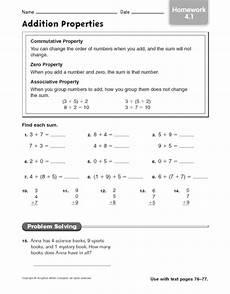 addition properties homework worksheet for 2nd 4th