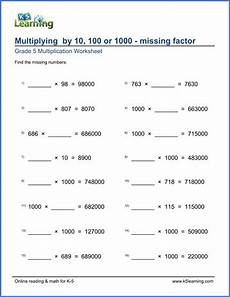 grade 5 worksheets multiplying by 10 100 or 1 000 missing factors k5 learning