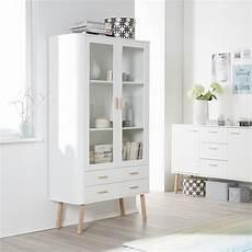 Möbel Weiß Holz - vitrinenschrank pilara eiche teilmassiv eiche wei 223