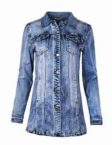 fraternel damen jacke mantel lange jeansjacke talliert