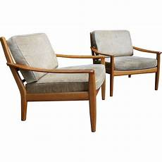 Pair Of Scandinavian Armchairs In Wood And Beige Fabric