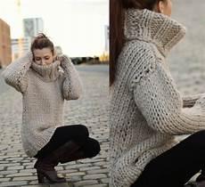 dicker pullover mit zopfkragen grobstrick pullover