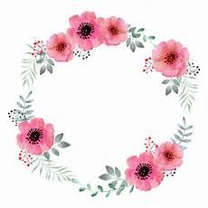 Blumen Malvorlagen Kostenlos Bearbeiten Aquarell Blumenkranz Rahmen Der Premium Vektor