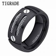 tigrade 8mm silver black mens titanium ring stainless