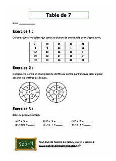 table de 7 fiches d exercices sur les tables de multiplication