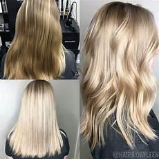 platinum hair balayage lob before and