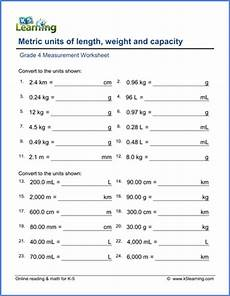 free printable measurement worksheets grade 4 1801 grade 4 math worksheet convert lengths weights and volumes metric k5 learning