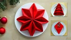 servietten falten weihnachten ideen zum tischdeko