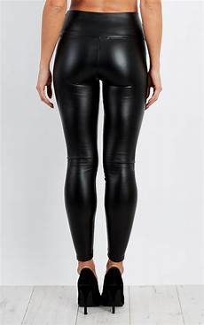 High Waist Faux Leather miyra high waist stretch faux leather in black