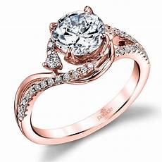swirling split shank diamond engagement ring in rose gold by parade