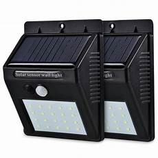 led solar power pir motion sensor wall light 20 led