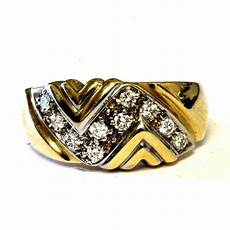 14k yellow gold 20ct diamond wide wedding band ring 5g womens vintage ebay