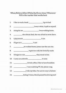 time adverbs worksheets 2909 adverb clauses fill in the marker worksheet free esl printable worksheets made by teachers