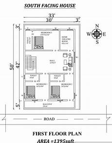 vastu house plans south facing 33 x50 south facing first floor house plan as per vastu