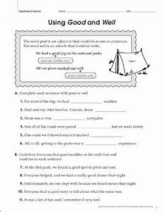 using good and well adjectives adverbs printable