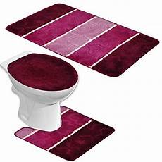 Badgarnitur Orion 3 Teilig Badmatte Bad Set Bordeaux Rot