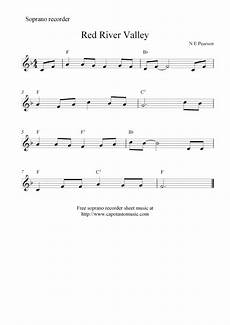 red river valley free soprano recorder sheet music notes