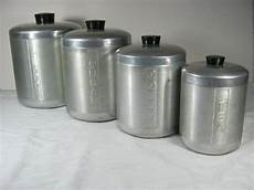 vintage aluminum canisters retro 50s canister set 4