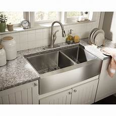 schon farmhouse 36 quot x 21 25 quot undermount double bowl kitchen sink reviews wayfair