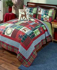 christmas holiday deer wreath patchwork king size quilt bedding bedroom new ebay