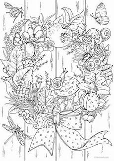 autumn wreath printable coloring page from