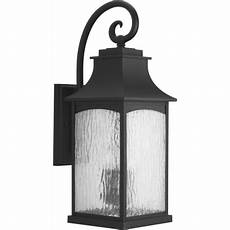 progress lighting p5755 31 black maison 24 quot tall 3 light outdoor wall sconce with water glass