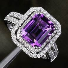 purple diamond wedding rings vvs dark purple amethyst diamond 5 11ct 14k white gold pave engagement ring ebay