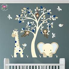 wandsticker baby junge elephant and giraffe nursery wall decal navy blue and