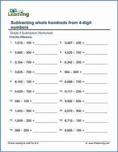 grade 4 math worksheets subtracting hundreds from 4 digit numbers k5 learning