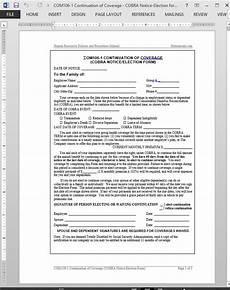 cobra continuation of coverage request template