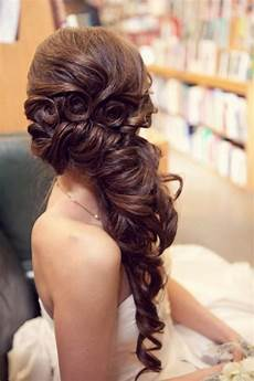 gorgeous wedding hairstyle wavy and side swept hairstyle 804053 weddbook