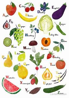 alphabet with fruit and vegetables poster by