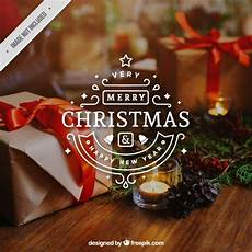 decorative merry christmas sticker free vector