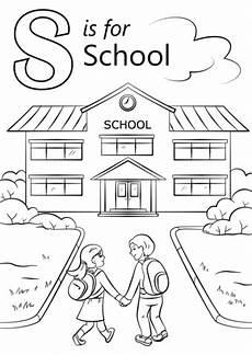 places in the school coloring pages 18035 kirjain s kuten school v 228 rityskuva
