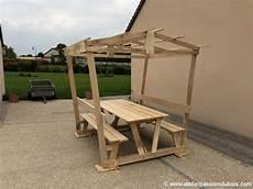 table bois pique nique couverte atelier du bois