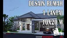 Desain Rumah Tropis 1 Lantai 10x20m